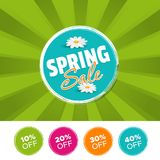 Spring sale color banner and 10%, 20%, 30% & 40% Off Marks. Vector illustration. Eps10 Vector Royalty Free Stock Image