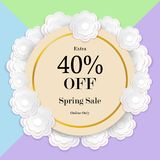 Spring sale colorful background with paper cut flower, vector il Stock Image