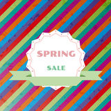 Spring sale colorful retro vector background Royalty Free Stock Photos