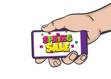 Spring sale comic text hold smartphone. Seasonal fire hot summer big sale price, discount. Comic text pop art. Vector halftone background illustration. Man hold Stock Image
