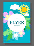 Spring sale concept hanging flowers, roll-up banner design, advertising. Vector Royalty Free Stock Photos
