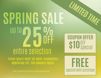 Spring sale coupon postcard. Green and Yellow spring event sale postcard template vector illustration