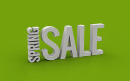 Spring sale 3d text on a green background Stock Image