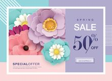 Spring sale poster. Spring sale design with beautiful blossom flowers and space for your text royalty free illustration