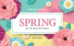 Spring sale poster. Spring sale design with beautiful blossom flowers Royalty Free Stock Image
