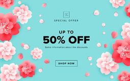 Spring sale design with beautiful flowers - cherry blossom on gr. Een background - vector banner, poster, website illustration, email header template Stock Photography