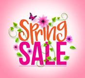 Spring Sale Design with Colorful Flowers, Vines and Leaves Royalty Free Stock Photography
