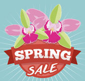 Spring Sale Design with Exotic Orchids for Offers Season, Vector Illustration stock photography