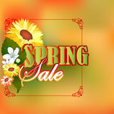 Spring sale design template with and many beautiful flowers Royalty Free Stock Photography
