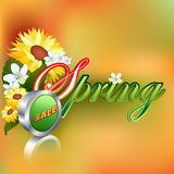 Spring sale design template with metallic sale icon royalty free illustration