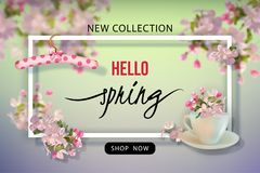 Spring Advertising Banner. Spring Sale Design. Vector season banner for web or print. Advertising banner of New Collection Stock Photos