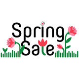Spring sale and discount cartoon banner. Shopping sticker. Royalty Free Stock Photos