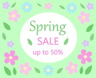 Spring sale discount floral bacground text spring sale up to fif. Ty percent on white and green with pastel colors pink and blue flowers and green leaves vector Stock Photography