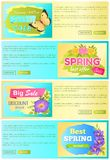 Spring Sale Discount Offer Set Vector Illustration. Spring sale, discount offer, collection of web pages, with text sample, and titles, butterfly and gerberas Royalty Free Stock Images