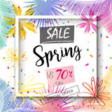 Spring Sale. Discount, special offer festive background design. Marketing banner, poster, Advertising placard, Holiday flyer with flowers, confetti, palm tree Stock Photos