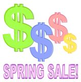 Spring Sale With Dollar Signs. A retail business illustration of dollar signs in pastel spring colors of green, blue, pink and yellow with the words 'Spring Sale Royalty Free Stock Images