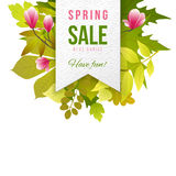 Spring sale emblem with leaves and flowers stock illustration