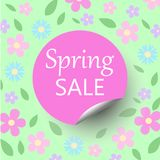 Spring sale floral bacground with discount circle sticker with c. Urled corner, pastel colors pink and blue flowers and green leaves - vector seasonal promotion Royalty Free Stock Photography