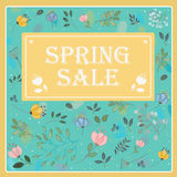 Spring Sale on the floral background. Vector card Stock Image