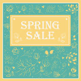 Spring Sale on the floral background. Vector illustration Royalty Free Stock Photography