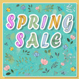Spring Sale on the floral background. Vector Royalty Free Stock Photography