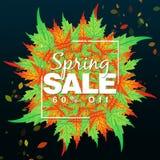 Spring Sale Floral Banner. Spring blossom. Seasonal holiday. Spring Sale Poster, voucher discount. Memphis style spring flyer stock illustration