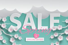 Spring sale banner floral template with paper cut blooming pink cherry flowers Stock Photo