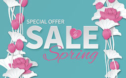 Spring sale banner template with paper cut blooming pink lotus flowers on blue floral background Stock Photos