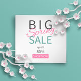Spring sale banner floral template with paper cut frame and blooming pink cherry flowers vector illustration