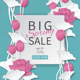 Spring sale banner template with paper frame and blooming pink lotus flowers on blue floral background Royalty Free Stock Photos
