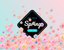 Spring sale flower background design with beautiful cherry flowe. Rs - vector banner, poster, website header, illustration, email header template Royalty Free Stock Image