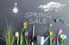 Spring sale concept. Spring sale flower bed garden with clouds, light bulb as the sun, and hose pipe with a sketch of water being sprayed on top of a chalkboard Stock Photo