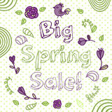 Spring sale  flower composition background.  Hand Royalty Free Stock Image