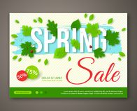 Spring Sale flyer design with green leaves. Vector Stock Photo
