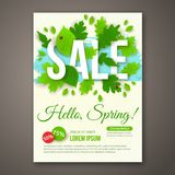 Spring Sale flyer design with green leaves. Vector Stock Photography