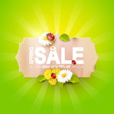 Spring sale flyer. Paper label with flowers and ladybugs on green background Royalty Free Stock Photography
