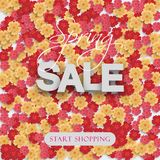 Spring sale flyer pattern with paper cut flowers. Bright floral background. Vector illustration. royalty free illustration