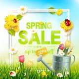 Spring sale flyer vector illustration