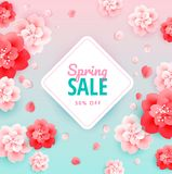 Spring sale fresh background with beautiful flowers - vector ill. Ustration Royalty Free Stock Image