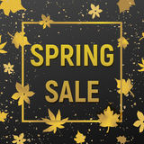 Spring sale with golden texture royalty free stock image