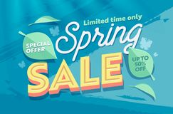 Free Spring Sale Green Natural Horizontal Banner Template. Promo Discount Season Offer Hot Price Poster. Clearance Super Deal Royalty Free Stock Photo - 137192125