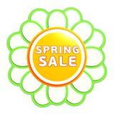 Spring sale green orange flower label Stock Photos