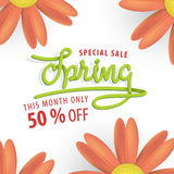 Spring Sale green and orange flower 50 percent off heading desig Royalty Free Stock Photo