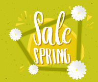Spring sale green poster. Sale Spring Banner, Isolated On White Background. Vector. Illustration Stock Photography