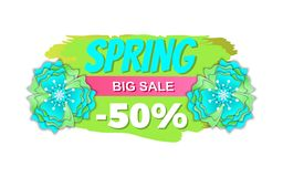 Spring Sale Half Price Reduction 50 Percent Low. Er vector. Special offer of markets and shops, seasonal proposition clearance of stores, promotion vector illustration