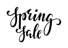 Spring sale. Hand drawn calligraphy and brush pen lettering. Stock Photo
