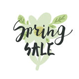 Spring sale. Hand lettering calligraphy with inspirational phrase. royalty free stock image