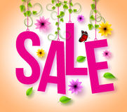 Spring Sale Hanging with 3D Realistic Colorful Flowers, Vines and Leaves Stock Photos