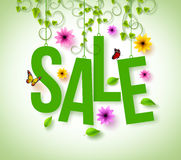 Spring Sale Hanging with Vector Vines, Flowers and Flying Butterflies Stock Image