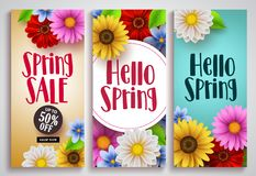 Spring sale and hello spring vector poster set designs with colorful background. Templates and various daisy flowers for spring season discount promotion and Stock Photos